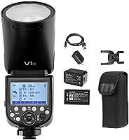 Godox V1-S 圆头闪光灯 适用于 Sony,1/8000 HSS,76Ws 2.4G TTL 车载闪光灯闪光灯 带 2600mAh 锂离子电池和充电器