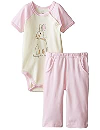 Touched by Nature Baby-Girls Organic Bunny Bodysuit and Pant Set
