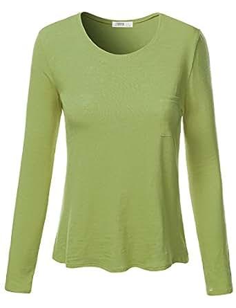 J.TOMSON Womens Plain Basic Cotton Spandex Long Sleeve T-Shirt  Awttl0144_green Small