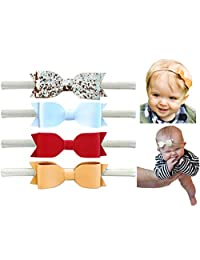Glitter Faux Leather Bow - Stretch Headbands for Baby Toddler Girls, Set of 4