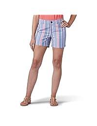 LEE 女式常规修身斜纹棉布短裤