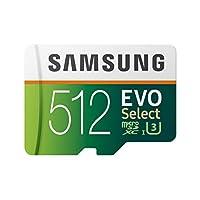 三星 512GB 100MB/s (U3) MicroSD Evo Select 內存卡,帶適配器 (MB-ME512GA/AM)