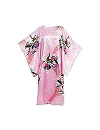 亚洲家居花卉孔雀缎丝绸和服,睡衣,家居服均码,适合大多数睡袍