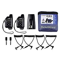 PocketWizard Plus IVe/IIIe 收发器套件,增强范围和可靠性一体化套件,用于远程摄影和关闭相机闪光灯(黑色收音机和蓝色 G-Wiz 方形包)