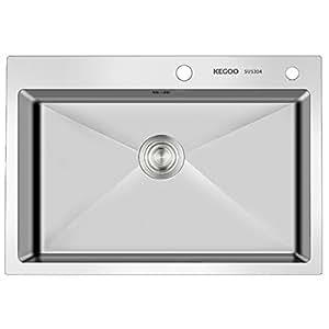 KEGOO 科固 K10003 304不锈钢水槽手工单槽 厨房洗菜盆不锈钢拉丝洗碗池水池(640mmX450mmX200mm)