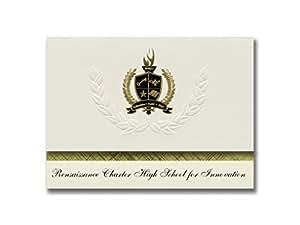 签名公告复兴宪章创新高中(纽约,纽约)毕业宣布,总统基本包装 25 带金色和黑色箔印章