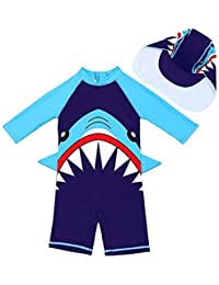 Baby Kids Boys Girls Two Pieces Star Print Rash Guard Sun Protective Swimsuit Swimwear With Caps