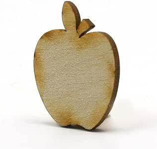 Mylittlewoodshop Pkg 25 - Apple - 5.08 cm 高 x 4.06 cm 宽 x 0.32 cm 厚未抛光木 (LC-APPL04-26)