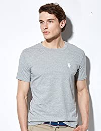 【美国大牌清仓】U.S. POLO男士圆领T恤 薄款短袖男 简约休闲T恤男上衣 (L/175, 灰色)