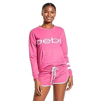 bebe 女式睡衣套装长袖衬衫和短裤睡衣套装 玫瑰紫(Rose Violet) 1X-Large