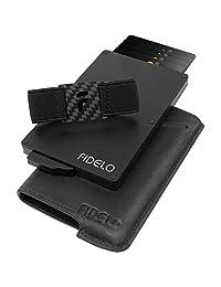 FIDELO 男式简约钱包 - 超薄信用卡包 RFID 男式钱包带皮革保护套