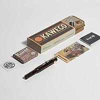 Kaweco 經典運動鋼筆限量版巧克力棕色,精致筆尖,帶 Kaweco 運動章形夾金色和Kaweco 鋼筆墨盒,焦棕(棕色),6 支裝
