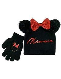 Disney 米妮冬季帽子和手套套装,4-12 岁女孩,黑色和红色