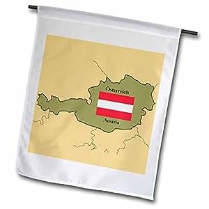 777images 旗帜和地图–THE 地图和国旗 OF 奥地利 with 奥地利双 English 和印刷奥地利 .–旗帜 12 x 18 inch Garden Flag