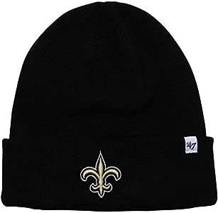 '47 Brand 黑色袖口无檐小便帽 - NFL 翻边足球冬季针织花纹帽 新奥尔良圣徒 - 黑色