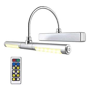 LUXSWAY 图片灯无线电池供电头可旋转 180 度 LED 遥控可调光自然/暖/冷光时间预设照明艺术品/图片/证书-银色