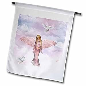 renderly Yours angels–美丽天使与信鸽–旗帜 12 x 18 inch Garden Flag
