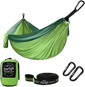 Starlight Mountain Outfitters 单/双吊床 - 便携式轻质降落伞尼龙带树带,背包、远足、露营、户外旅行的*佳吊床