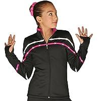 ChloeNoel J618F 双色滚边轻质羊毛图案滑冰夹克搭配施华洛世奇水晶