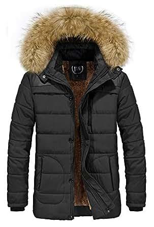 JYG 男式冬季加厚大衣修身夹棉棉衣夹克带毛皮罩 Black-6692 US 2XL(Asia 5XL)