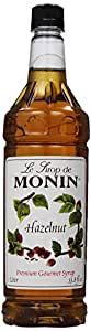 Monin Flavored Syrup, Hazelnut, 33.8-Ounce Plastic Bottles (Pack of 4)