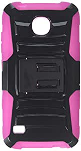 HRWIRELESS(TM) For Huawei Union Y538 Dual Layer Hybrid Side Kickstand Cover Case With Holster Clip Black/Hot Pink
