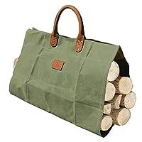 Absolute Use Canvas Wood Log Carrier - Firewood 耐用蜡棉和防水储物架 - 用于携带重磅积木和皮革手柄,提起舒适