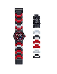 LEGO 星球大战 DARTH vader 儿童迷你人偶表链 buildable 手表 | 黑色/红色 | 塑料 | 28MM 保护套 diameter| ANALOGUE 石英 | 男孩女孩 | 官方