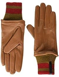 Calvin Klein 女士皮革手套带条纹针织袖口