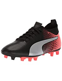 PUMA Evoknit FTB FG 儿童足球鞋 Puma 黑色 puma 银质 红色 爆发 5.5 M US 儿童