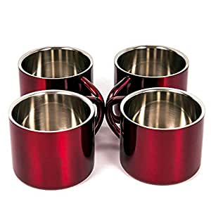 不锈钢双层咖啡杯,4件套,小号 红色 2 盎司 unknown