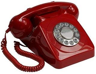 GPO 746 按钮复古电话机,带响铃,红色