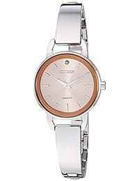 Citizen 女式石英不锈钢休闲手表,颜色:银色调(型号:EZ6370-56X)