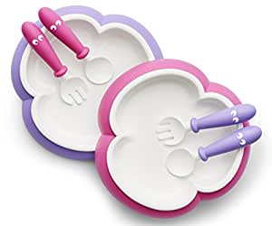 BABYBJORN Baby Plate Spoon and Fork - Pink/Purple 2-pack