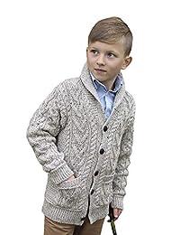 West End Knitwear 男孩青果领 * 美利奴羊毛爱尔兰开衫毛衣