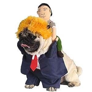 Dog Trump 服装总统骑士站立衣服独立日带帽布柔软狗狗 3 件装 *蓝 XL