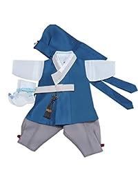 100天生韩国婴儿男孩韩步传统服装服装庆祝派对蓝色套装