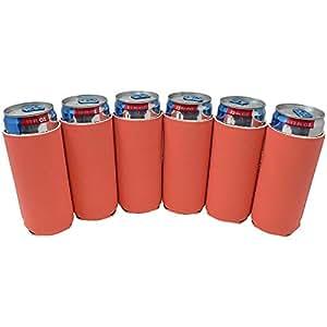 TahoeBay 6 纤薄罐套 - 空白氯丁橡胶啤酒冷却器 - 兼容 340 g RedBull、Michelob Ultra、Spiked Seltzer 珊瑚色 12oz