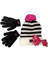 Nickelodeon JoJo Siwa 女童冬季帽和手套寒冷天气套装,适合 4-7 岁儿童