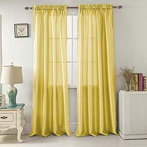 RT Designers 系列尼基人造丝 137.16 x 213.36 厘米。 杆袋窗帘板,浅绿色 柠檬色 54 x 84 in. PNN03145