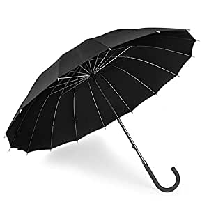 【顺丰包邮】Euroschirm 德国进口风暴伞-英式传统绅士弯把直柄伞黑色商务晴雨两用伞 舒适弯把把手 抗风防雨伞(14根金属伞骨,全金属伞架)