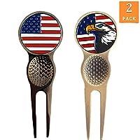 FINGER TEN 高尔夫草皮修复工具和球标记超值 2 件装,磁铁加美国球位标,适合送给男士女士的礼物