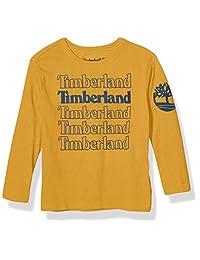 Timberland 添柏岚 男孩长袖徽标图案 T 恤