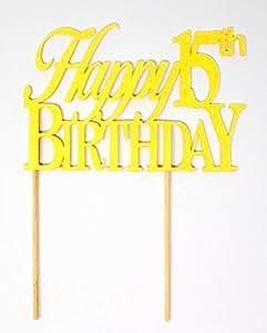 All About Details Happy 15 生日蛋糕装饰,1 件,生日庆祝,派对装饰,闪光装饰 Glitter Pastel Yellow CATH15B