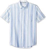 Amazon Essentials 男士标准剪裁短袖亚麻棉衬衫
