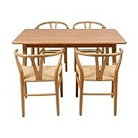 百伽 现代简约全实木餐桌椅组合进口白橡木餐厅家用一桌四椅 1.4米直角腿餐桌+4把Y椅【亚马逊自营,供应商配送】