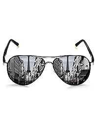 rocknight 偏光飞行员太阳镜男式女式金属平顶太阳镜超轻镜镜头 UV 400户外