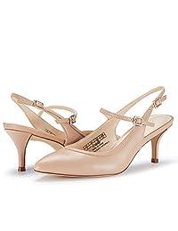 JENN ARDOR 女士阔跟凉鞋露趾带脚踝绑带晚礼服粗跟凉鞋