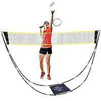 SUPOW 便携式羽毛球网套装,可折叠网球排球网 – 后院羽毛球网套装带支架携带袋 – 易于安装,无需工具或桩子