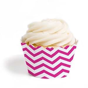 Dress My Cupcake Mini Cupcake Wrappers, Chevron, Fuchsia, Set of 18